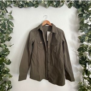 Leshop Casual Utility Jacket Button Up Green NWT